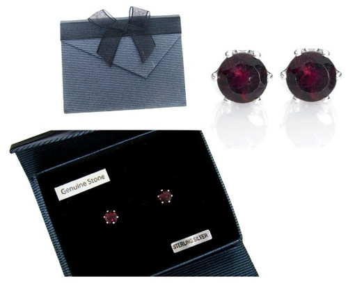 Genuine Garnet Earrings in Sterling Silver