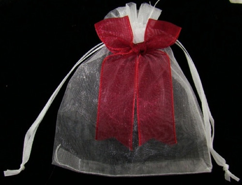 Organza Pouch : White with Burgundy Bow