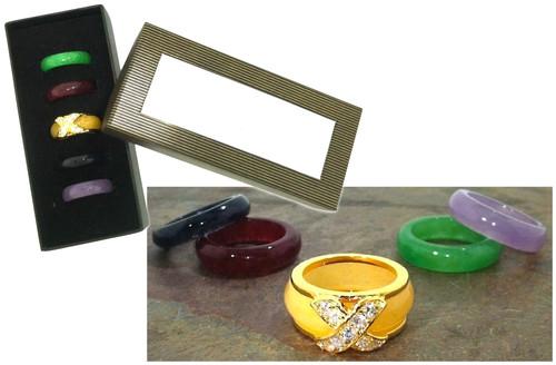 6 Piece Genuine Gems Interchangeable Ring Set Closeout