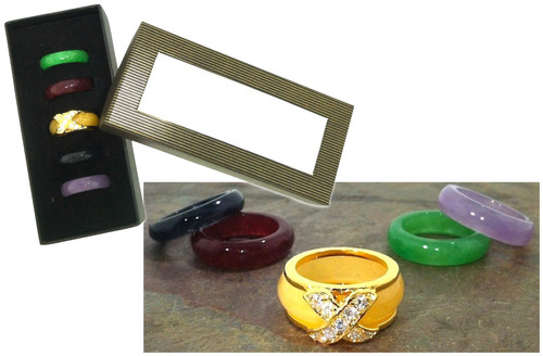 6 Piece Genuine Gems Interchangeable Ring Set Closeout