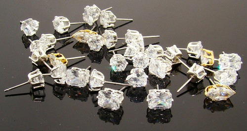 50 Pairs Assorted CZ Stud Earrings