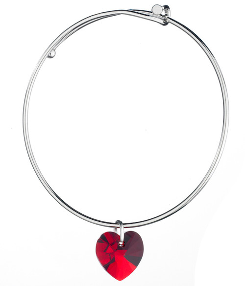 Bianca Stone Heart Charm Bangle Bracelet