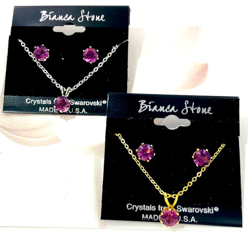Bianca Stone Amethyst Swarovski Crystal Necklace & Earring Set