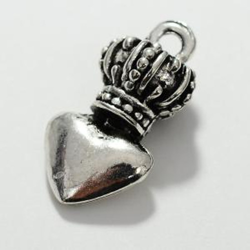 Zinc Alloy Heart Crown Charm