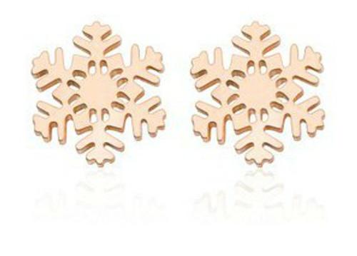 Rose Gold Snowflake Stud Earrings