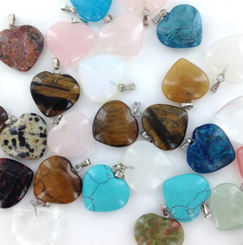 Assorted Gemstone Heart Pendants by the Dozen
