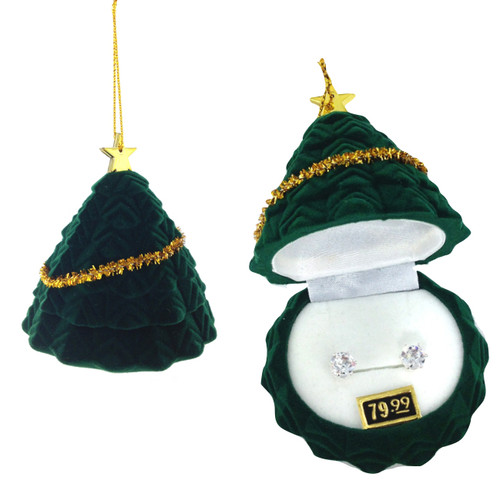 CZ Earrings in Christmas Tree Gift Box