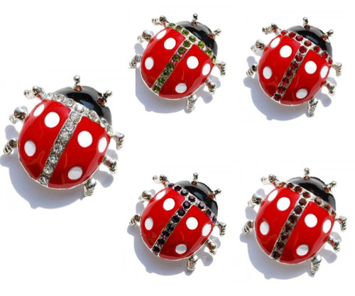 Crystal Ladybug Pins Priced Per Dozen