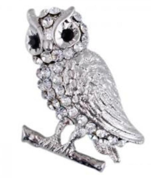 White Crystal Owl Pin