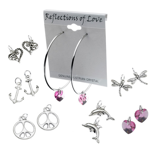Reflections of Love Hoop Earring Collection with 6 Interchangeable Charms