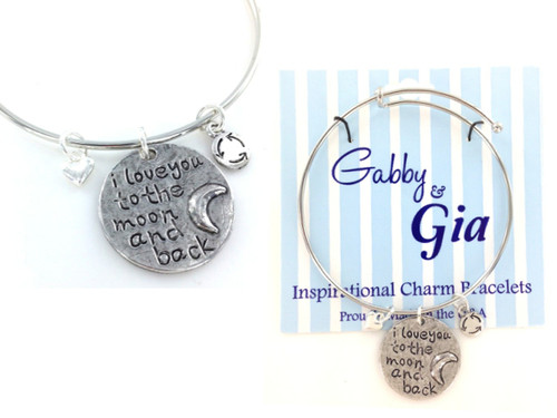 Gabby & Gia Bracelet - I Love You To The Moon and Back Disc