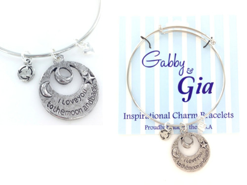 Gabby & Gia Bracelet - I Love You To The Moon and Back Cut Out