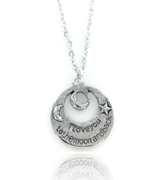 I Love You To The Moon & Back Necklace - Cut Out
