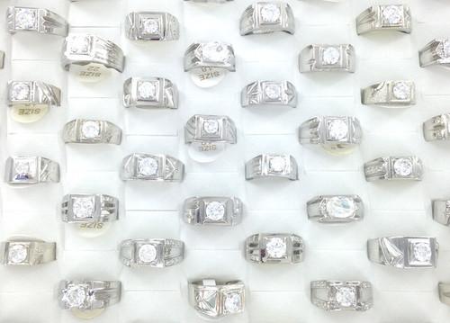 Men's CZ & White Gold Plated Rings