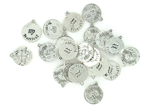 Zinc Alloy Zodiac Charms - 50 Piece