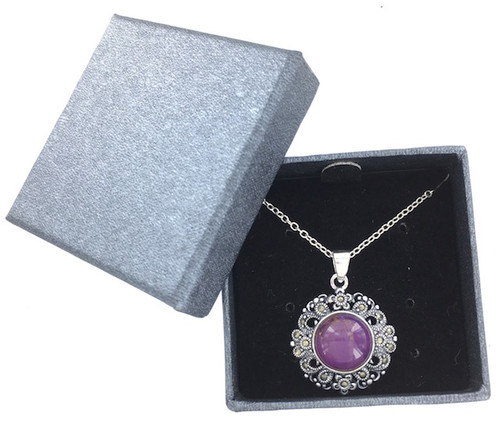 Wholesale Purple Turquoise and Marcasite Necklace
