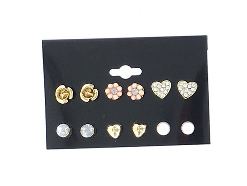 Wholesale Earring Assortment - 6 Pairs on a Card