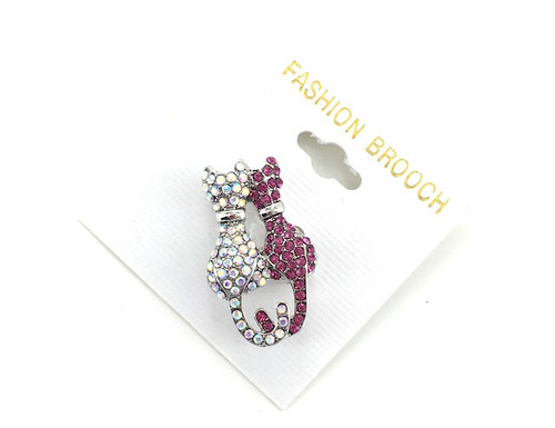 Wholesale Crystal Kitty Cats Pin