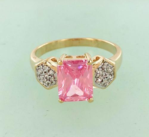 Pink Emerald Cut CZ Ring Closeout