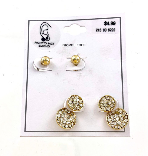 Wholesale Dept Store Earrings - Gold Front to Back