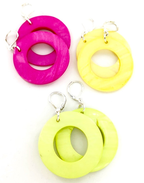 Wholesale Neon Shell Earrings by the Dozen