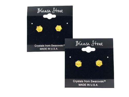 Swarovski Crystal Elements Stud Earrings : Light Topaz