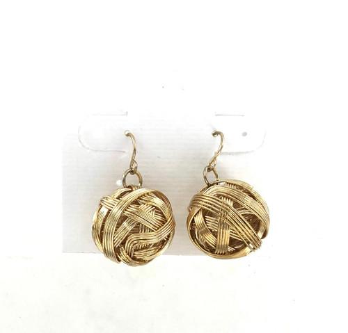 Closeout Golden Wrap Ball Earrings