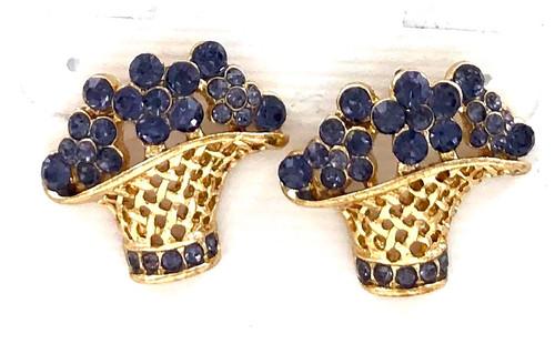 Closeout Basket O Violets Earrings