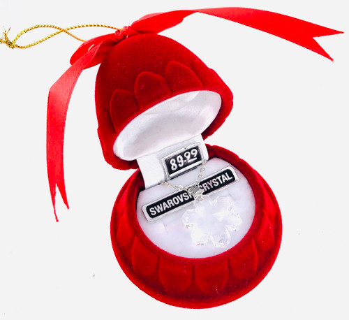 Swarovski Crystal Snowflake Necklace in Red Velvet Hanging Gift Box