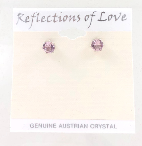 Closeout Crystal Lt Amethyst Stud Earrings