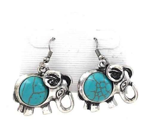 Wholesale Turquoise Filled Elephant Earrings