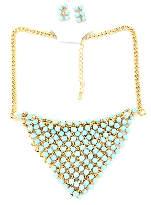 Wholesale Golden Turquoise Bib Necklace and Earring Set