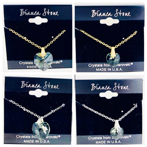 Bianca Stone Swarovski Crystal Heart Mother & Daughter Necklace Set - Black Diamond