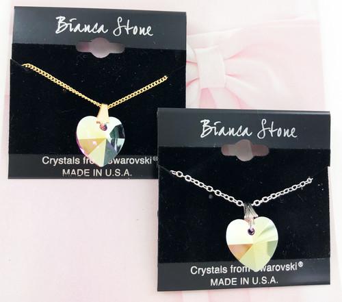 Bianca Stone Unicorn Heart Necklace - Made with Swarovski Crystal