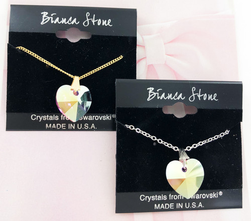 Bianca Stone Unicorn Heart Necklace - Made with Swarovski Crystal