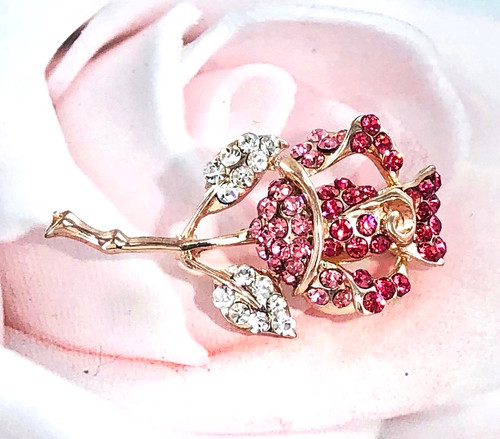 Wholesale Crystallized Eternal Pink Rose Pin