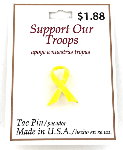 Closeout Yellow Ribbon Tac Pins - 12 Pieces