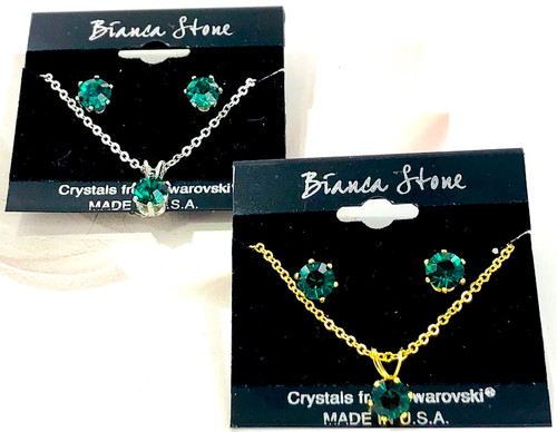 Bianca Stone Necklace & Earring Set - Made in America with Emerald Swarovski Crystal