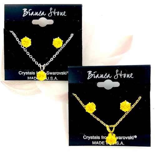 Bianca Stone Necklace & Earring Set - Made in America with Canary Swarovski Crystal
