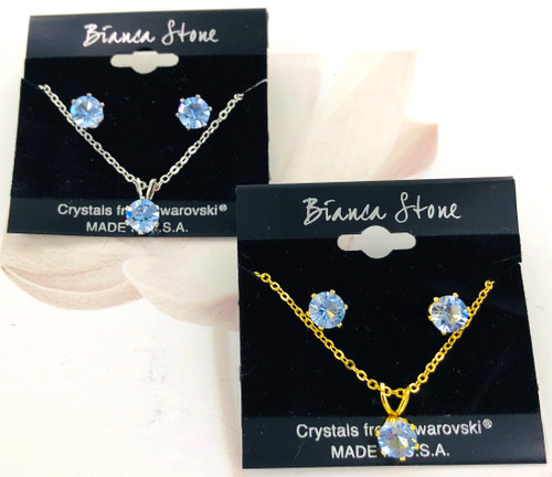 Bianca Stone Necklace & Earring Set - Made in America with Light Sapphire Swarovski Crystal