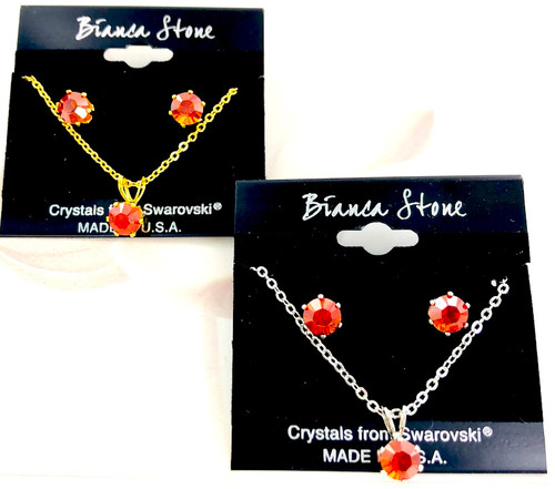 Bianca Stone Necklace & Earring Set - Made in America with Crystal Red Magma Swarovski Crystal