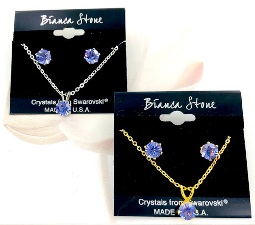 Bianca Stone Necklace & Earring Set - Made in America with Tanzanite Swarovski Crystal