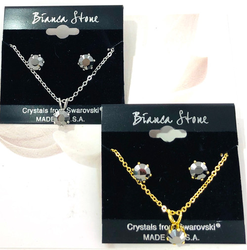 Bianca Stone Necklace & Earring Set - Made in America with Hematite Swarovski Crystal