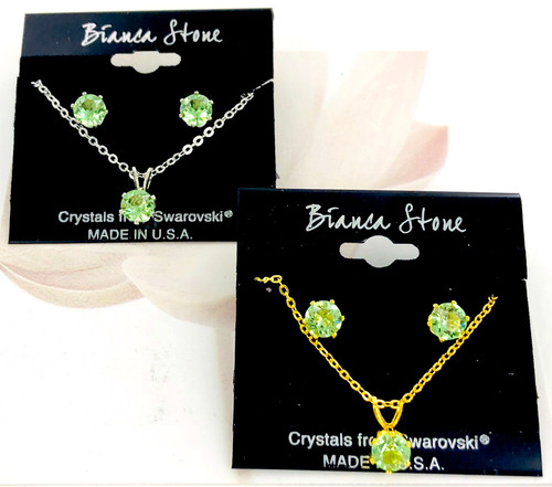 Bianca Stone Necklace & Earring Set - Made in America with Peridot Swarovski Crystal