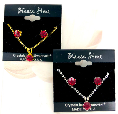 Bianca Stone Necklace & Earring Set - Made in America with Ruby Swarovski Crystal