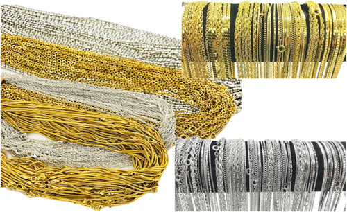 Closeout Plated Chain Necklaces in Assorted Lengths - 100 Pieces