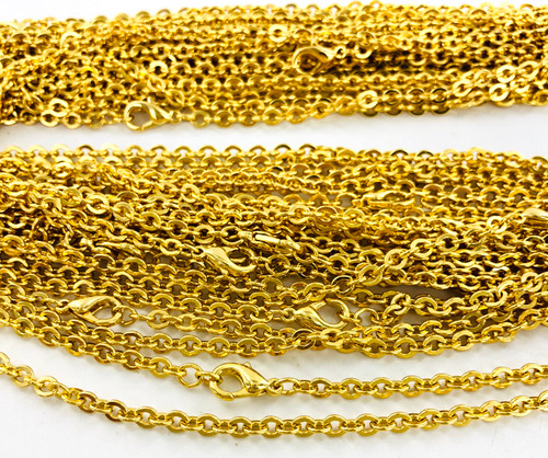Wholesale Curb Chain by the Dozen - Gold Plated - 22 Inch