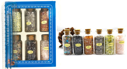 6 Per Pack Quartz Gemstones in Decorative Jars