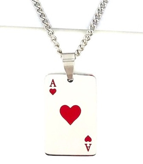 Wholesale Titanium Plated Steel Necklace - Ace of Hearts