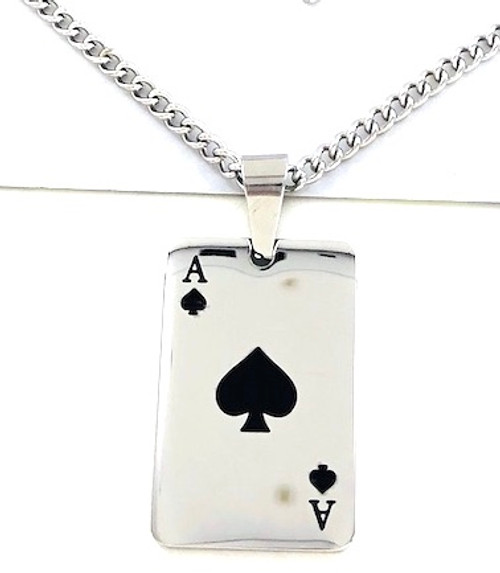 Wholesale Titanium Plated Steel Necklace - Ace of Spades